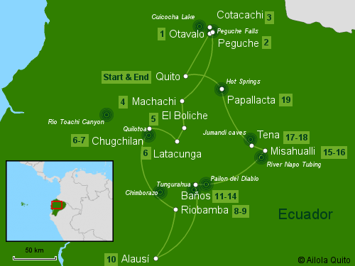 Traveling Classroom Map: Experience Ecuador Tour 19 Days