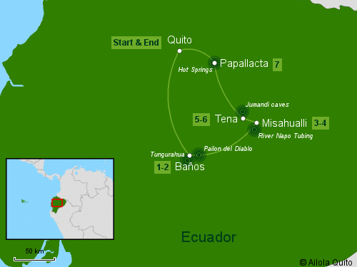 Traveling Classroom Map: Andes-Amazon Jungle Tour 7 Days
