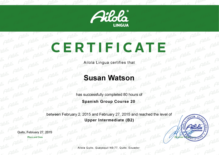 Ailola Lingua Certificate