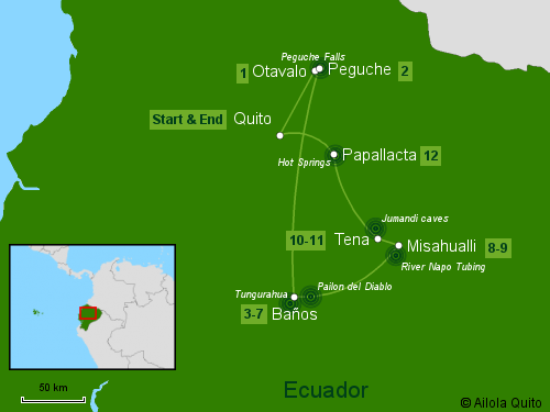 Traveling Classroom Map: Andes-Amazon Jungle Tour 12 Days