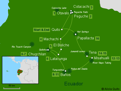 Traveling Classroom Map: Experience Ecuador Tour 16 Days